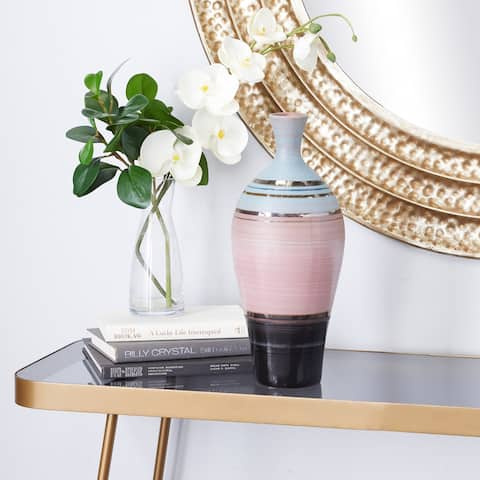Pink Ceramic Contemporary Vase 15 x 6 x 6 - 6 x 6 x 15