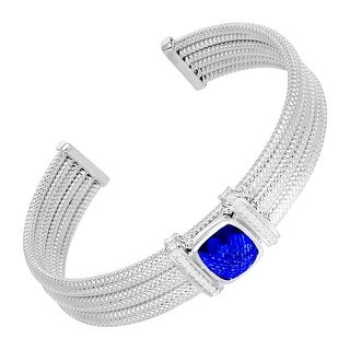 4 3/5 ct Created Sapphire & 1/5 ct Diamond Cuff Bracelet in Sterling Silver - Blue