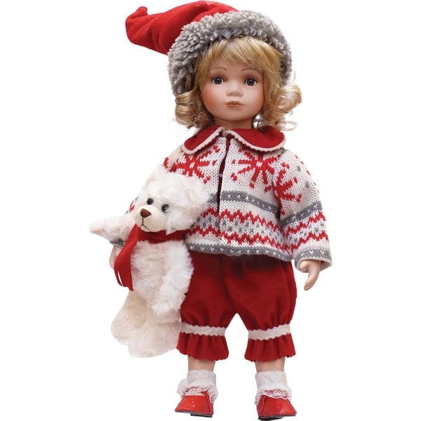 """14.5"""" Alpine Chic Porcelain """"Morgan"""" with Teddy Bear Standing Collectible Christmas Doll"""