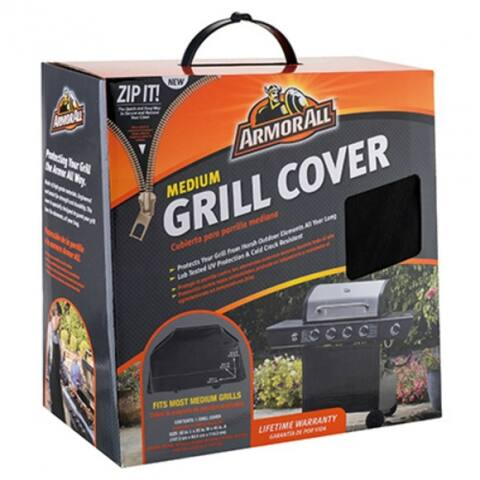 "Armor All 07800AA Medium Grill Cover with Zip It, 58"" x 25"" x 45"""