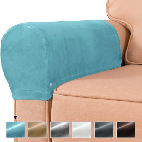 Subrtex Velvet Armrest Covers Spandex Stretch Furniture Protector