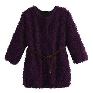 Richie House Baby Girls Violet Braided Belt Retro Shag Jacket 24M