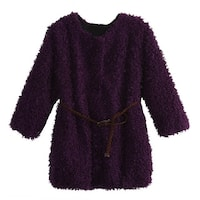 Richie House Little Girls Violet Braided Belt Retro Shag Jacket 3-6