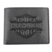 "Harley-Davidson Men's Embossed B&S Logo Leather Billfold Wallet XML3554-BLACK - 4.25"" x 3.375"""