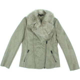 Alberto Makali Womens Faux Suede Shearling Lined Jacket - S