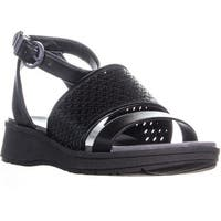BareTraps Rockwell Wedge Ankle Strap Sandals, Black - 7.5 us