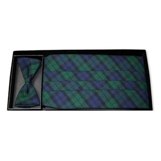 Black Watch Holiday Plaid Tuxedo Cummerbund and Bow Tie