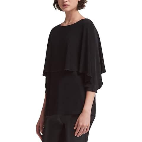 DKNY Womens Pullover Top Layered Ruffled