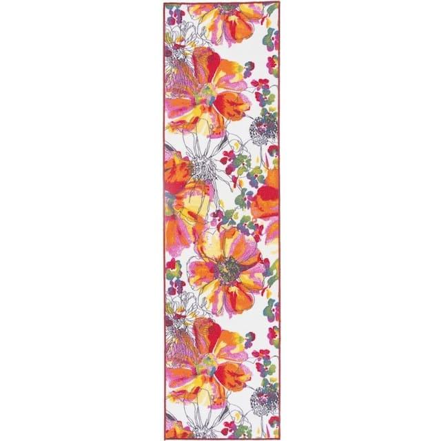 Modern Bright Flowers Non-Slip Area Rug Multi - 2' x 10' Runner - Multi