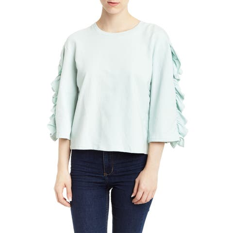 Romeo & Juliet Couture Women's Blue Large L Ruffle Crewneck Sweater