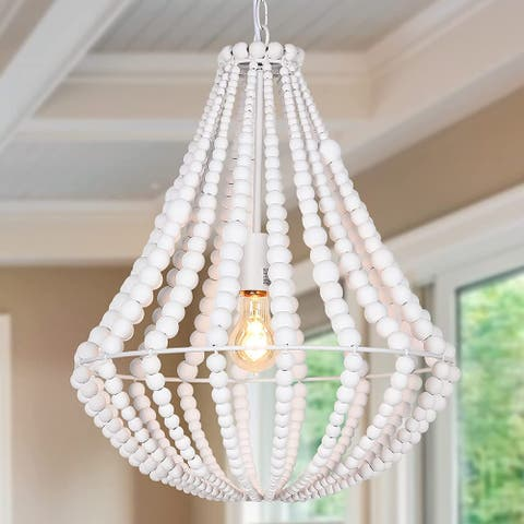 White Pendant Light Fixtures, Wood Beaded Chandelier, Farmhouse Pendant Light - N/A
