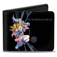 Dark Magician Girl Pose Dark Kanji + Yu Gi Oh! Logo Black Gray Bi Fold Wallet - One Size Fits most