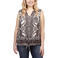 Lucky Brand Womens Plus Button-Down Top Tie Front Paisley