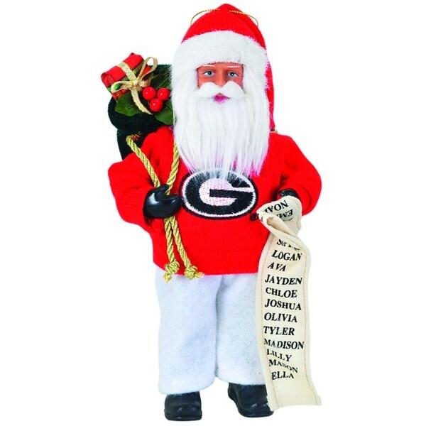 "9"" NCAA Georgia Bulldogs Santa Claus with Good List Christmas Ornament"