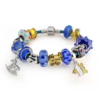 Bling Jewelry British Royal Baby Boy Prince Charm Bracelet Blue 925 Silver