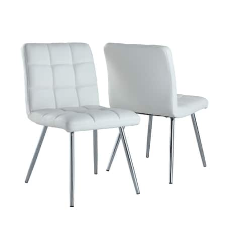 """Offex 2 Piece Contemporary Dining Chair 32""""H - White Leather Look - 19""""L x 23""""W x 32""""H"""