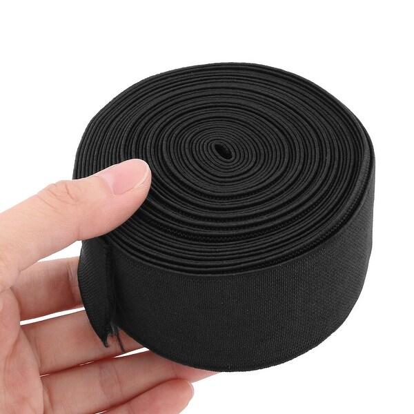 Black, 2 inch Elastic Bands Spool Sewing Band Flat Elastic Cord 12Yards