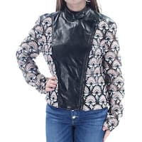 YYIGAL Womens Black Faux Leather  Trim Floral Motorcycle Jacket  Size: M