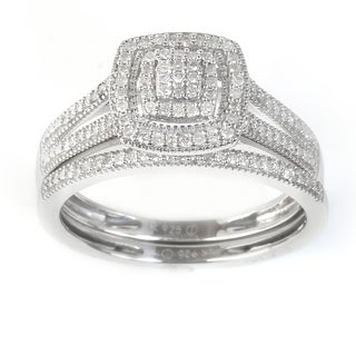 Link to IGI Certified 1/4ct TDW Diamond Cluster Halo Bridal Set in Sterling Silver Similar Items in Men's Watches