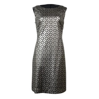 Tahari Women's Laser-Cut Sleeveless Dress - Pewter Grey