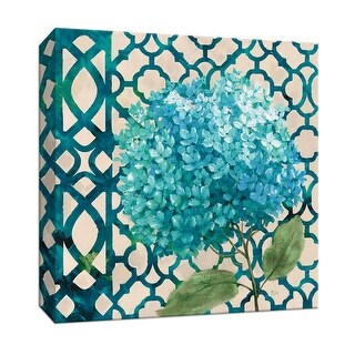 """PTM Images 9-147182  PTM Canvas Collection 12"""" x 12"""" - """"Hydrangea & Lattice"""" Giclee Flowers Art Print on Canvas"""