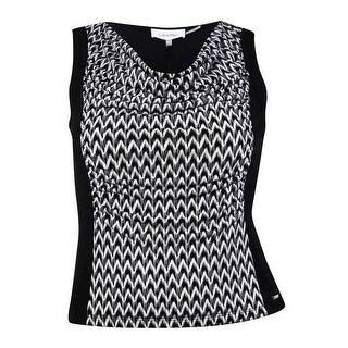 Calvin Klein Women's Printed Drape Neck Blouse - pl
