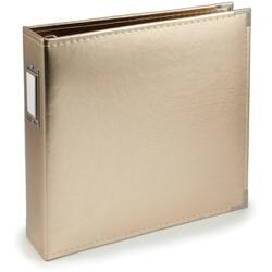 "Gold - We R Classic Leather D-Ring Album 12""X12"""