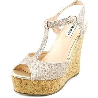 Steve Madden Havanaa Women Open Toe Canvas Gold Wedge Heel