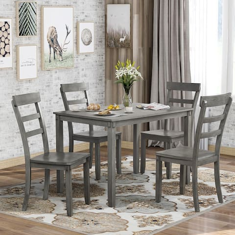 5-piece Kitchen Dining Table Set Wood Table and Chairs Set (Grey)