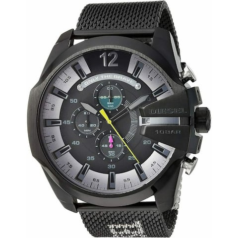 Diesel Men's DZ4514 MEGA Chief with Black,Silver Stainless Steel Strap - 1 Size