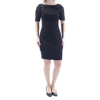 Womens Black Short Sleeve Above The Knee Body Con Cocktail Dress Size: 2