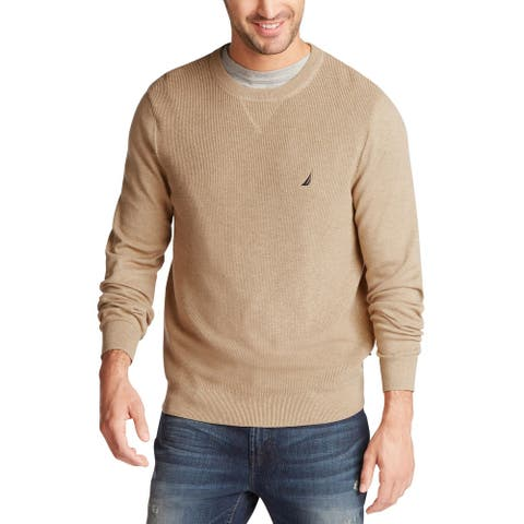 Nautica Mens Sweaters Beige Size XL Crewneck Pullover Long-Sleeve
