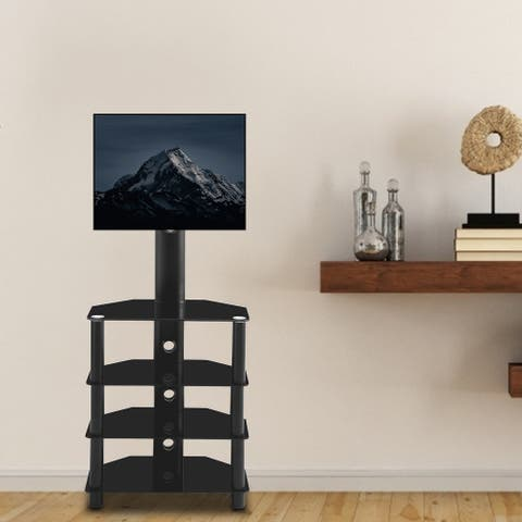 Black Multi-function Angle and height adjustable 4-Tier tempered glass metal frame Floor TV stand