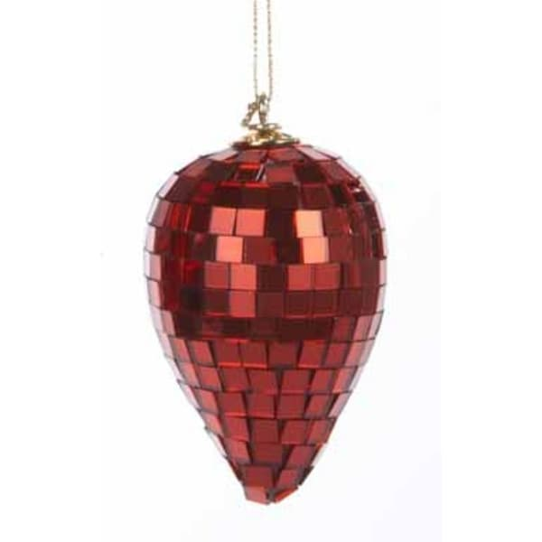 """3.5"""" Red Mirrored Glass Disco Drop Christmas Ornament"""