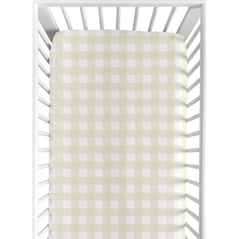 Sweet Jojo Designs Beige and White Buffalo Plaid Check Woodland Camo Collection Fitted Crib Sheet