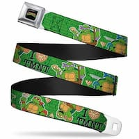 "Classic Tmnt Logo Full Color I ""Heart"" Tmnt Classic Turtles & Pizza Green Seatbelt Belt"
