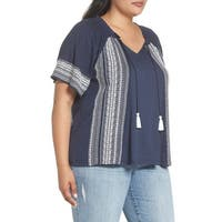 Caslon Blue Women's Size 2X Plus Embroidered Tassle V-Neck Blouse