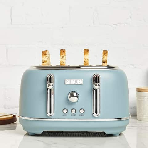 Haden Highclere 4-Slice, Wide Slot Toaster with Settings in Pool Blue