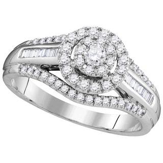 10kt White Gold Womens Round Natural Diamond Round Halo Bridal Wedding Engagement Ring 1/2 Cttw