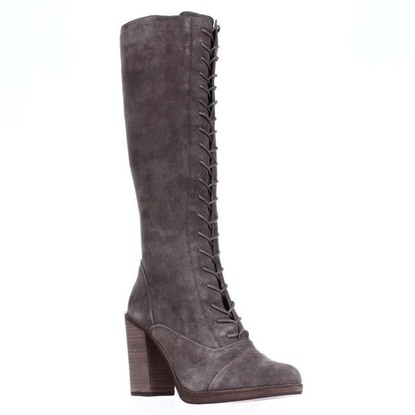 Steve Madden Nidea Knee-High Lace-up Boots, Taupe Suede