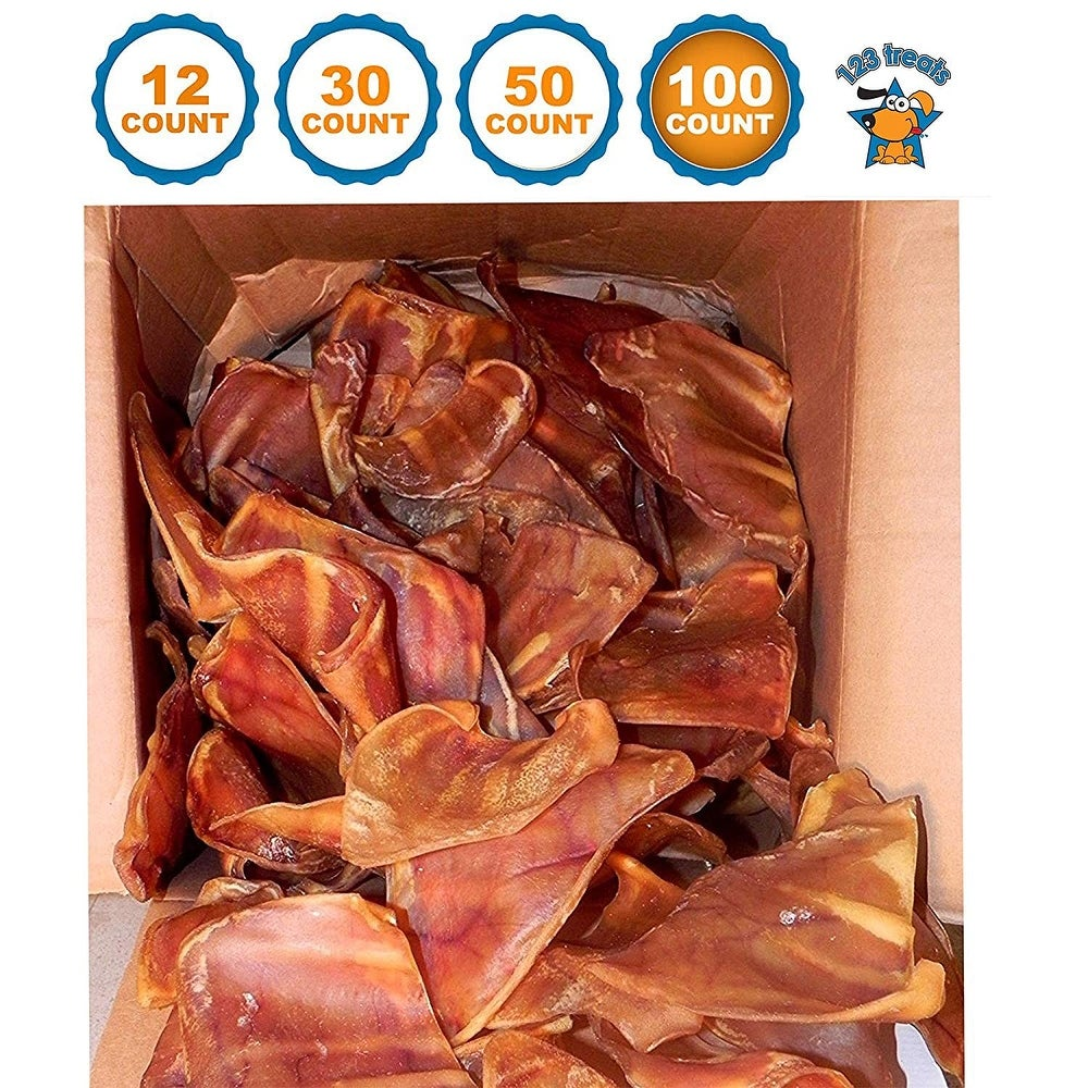 Pig Ears Dog Chews 100% Natural and irradiated Pork Ears mix sizes USDA and FDA Certified from 123 Treats (100 Count)