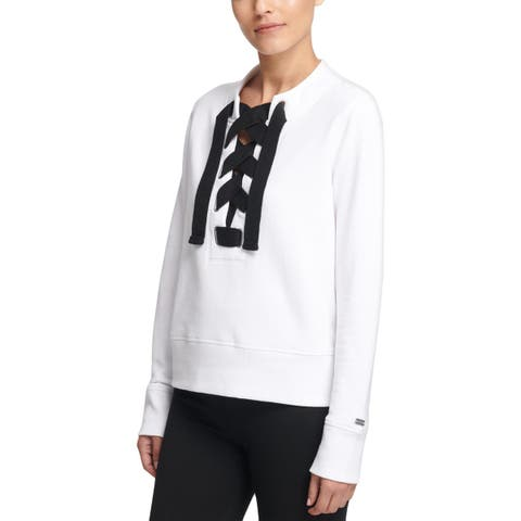 DKNY Womens Sweatshirt, Crew Crewneck Lace-Up