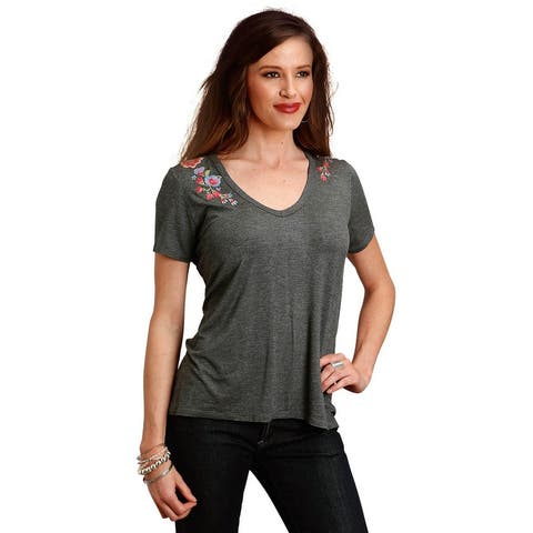 Stetson Western Shirt Womens Short Sleeve Gray - L