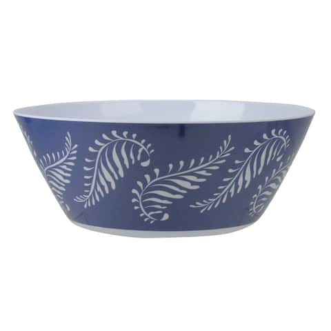 "11"" Blue and White Leaf Design Mixing Bowl"