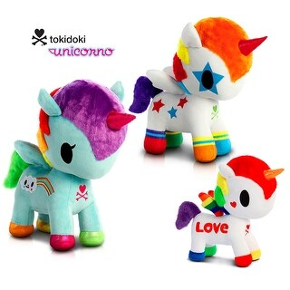 "Love Bundle - Tokidoki - Rainbow Love 7.5"", Bowie and Pixie Unicorno 11"" High Quality Plush (3 Items)"