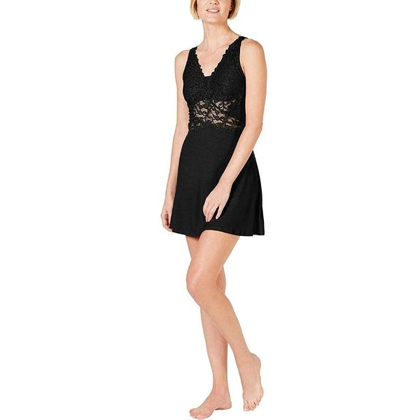 INC Women's Ultra Soft Lace Detail Knit Chemise Nightgown, Black, L. Opens flyout.