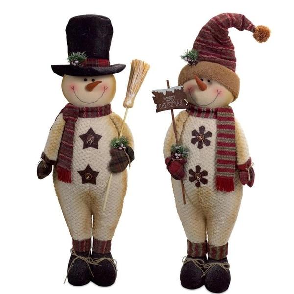 "Set of 2 Joyous Christmas Snowmen Standing Tall in their Winter Best 41"" - black"
