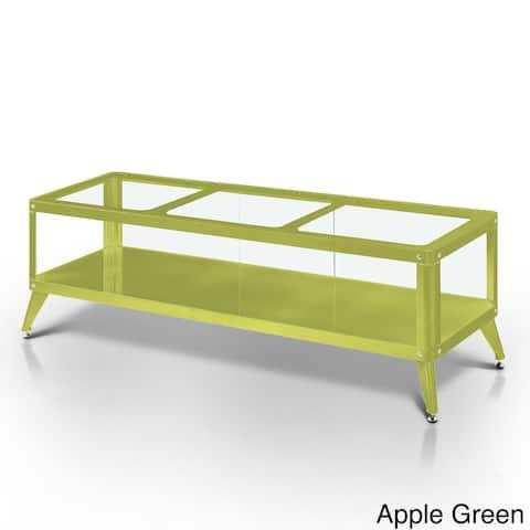 Furniture of America Hind Modern Metal Glass Top Open Shelf TV Stand