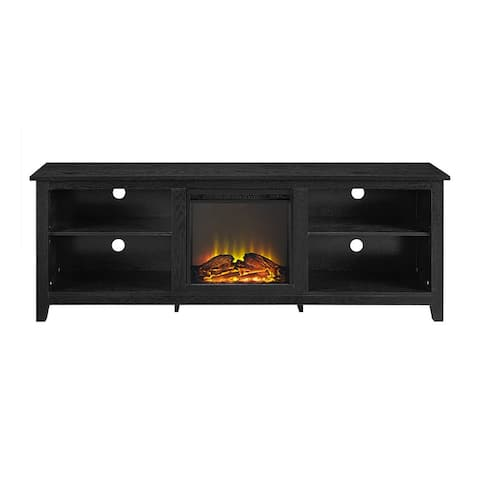 "Offex 70"" Wood Fireplace Media TV Stand Console - Black"