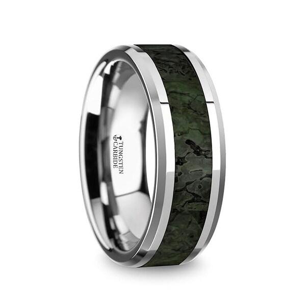 TYRION Men's Tungsten Wedding Band with Dark Green Dinosaur Bone Inlay & Beveled Edges